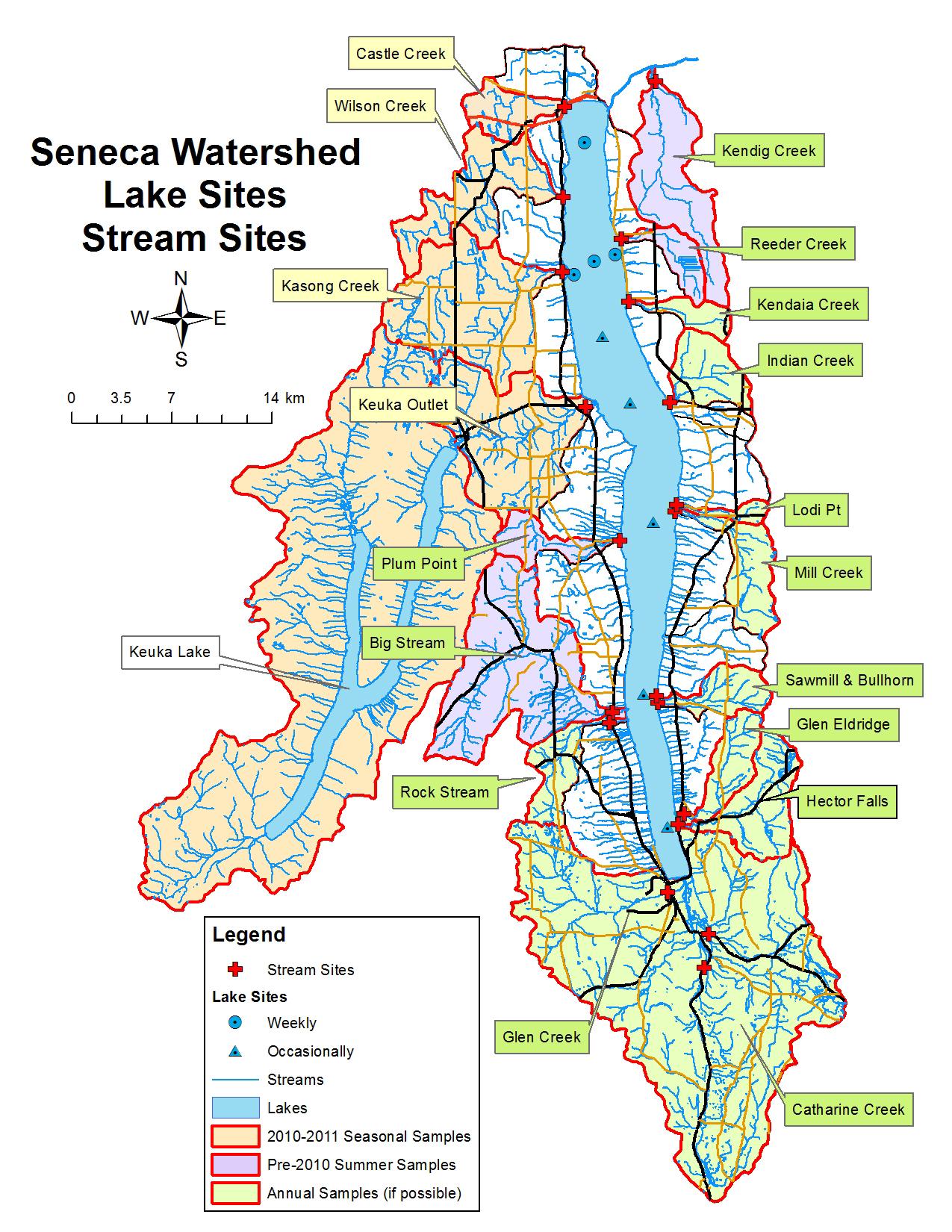 map of seneca lake Finger Lakes Limnological Monitoring map of seneca lake
